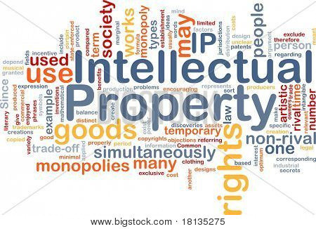 Background concept wordcloud illustration of intellectual property
