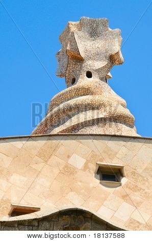 BARCELONA, SPAIN - MAY 23: Detail of Casa Mila, or La Pedrera, on May 23, 2010 in Barcelona, Spain. This famous building, designed by Antoni Gaudi, was built between 1906 and 1910