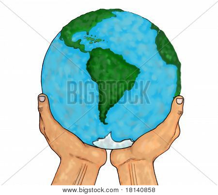 Hands Holding Planet Earth Isolated Over White