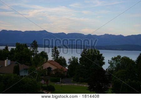 Flathead Lake In Montana At Sunset
