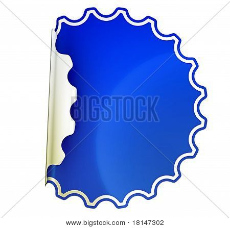 Blue Round Bent Sticker Or Label