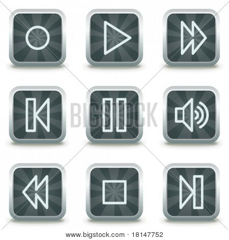 Walkman web icons, grey square buttons