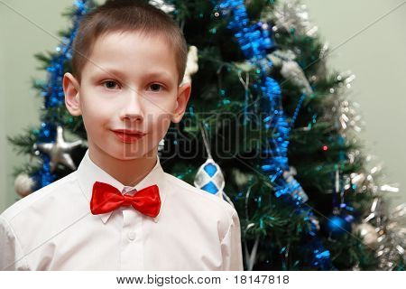 boy in white shirt and red bow tie standing near Christmas tree