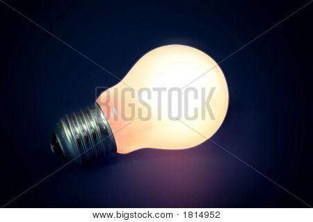 Background With Lit Lightbulb