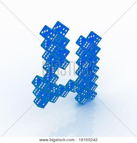 Dice Font. Letter 4