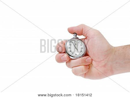 Hand with stop watch