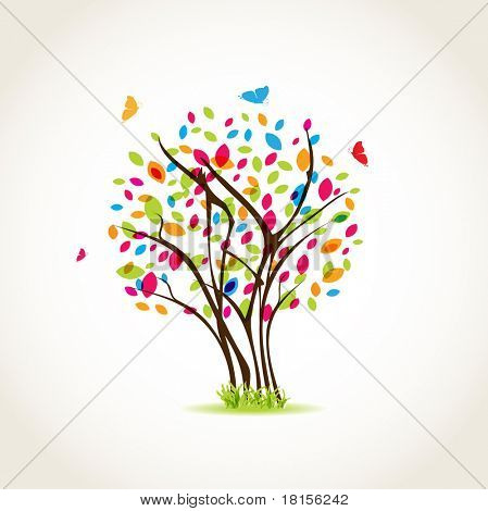 Colorful summer tree with butterflies. Jpeg version