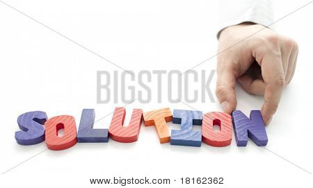 Hand and word Solution on white background