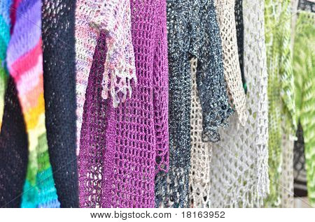 a handmade clothing from colored cloth mesh