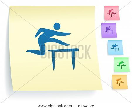 Hurdles Icon on Post It Note Paper Collection Original Illustration