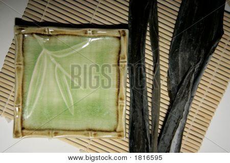 Sushi Plate, Seaweed On Bamboo Mat