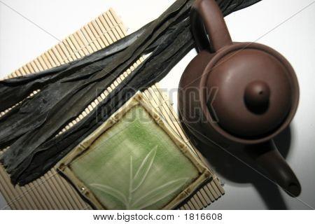 Sushi Plate, Seaweed Kombu On A Bamboo Mat, Teapot