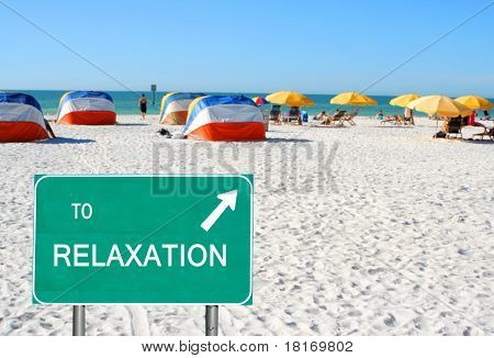 To Relaxation Sign Pointing To Beach