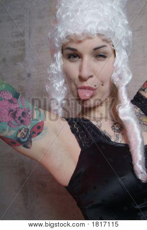 Woman With Tattoo And Peruke