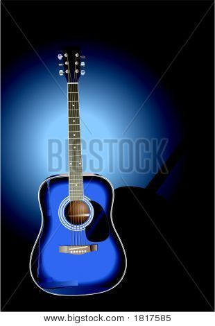 Blue Guitar Dark Background