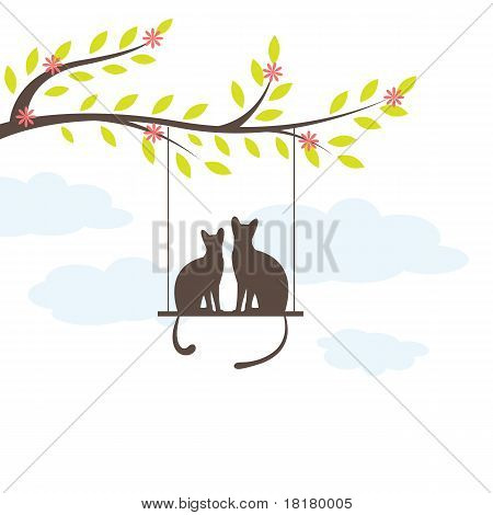 Two Black cat on  swing and tree. Vector Illuatration
