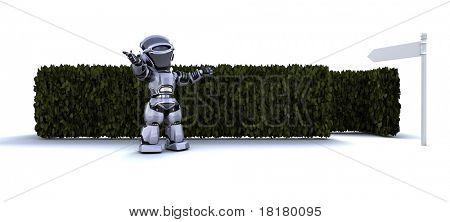 3D render of a Robot at the start of a maze