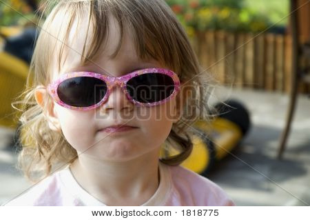 Girl Wearing Funny Sunglasses
