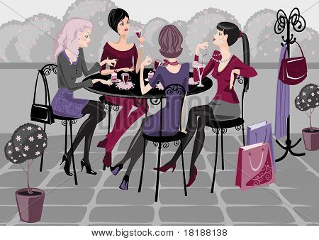 girls in a street cafe