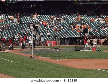 Phillies Taking Batting Practice Player Waiting On Incoming Throw From Coach