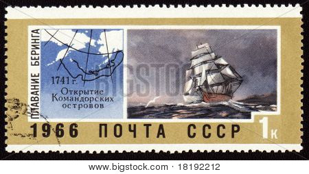Discovery Of Commander Islands On Post Stamp