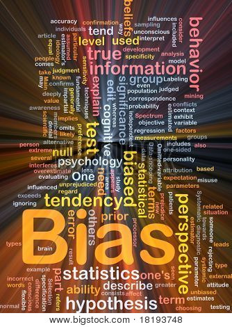 Background concept wordcloud illustration of bias glowing light