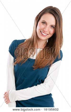 Smiling beautiful embarrassed girl looking at camera isolated on white background