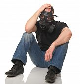 picture of s10  - sit man wearing  gas mask isolated on white - JPG
