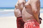 pic of fat-guts  - Close up of two obese fat men of the beach - JPG