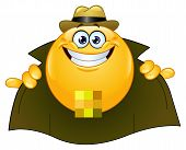 stock photo of pervert  - Vector design of a funny flasher emoticon - JPG