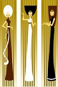 picture of matron  - Illustration of three women in dresses on a green background - JPG