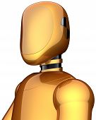 Golden crash test dummy safety android