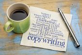 copywriting word cloud  - handwriting on a napkin with a cup of coffee poster