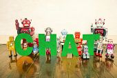 the word Chat with vintage robot toys  poster