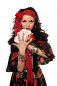 picture of fortune-teller  - Portrait of gypsy woman with cards - JPG