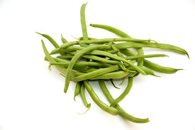 stock photo of green bean  - freshly picked green string beans from the garden