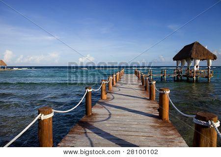 wooden dock at the caribbean sea at Yucatan Peninsula, Mexico