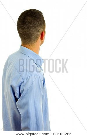 young casual man back in a white background