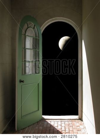 Arched Doorway To Night Sky