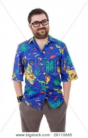 young silly man with a hawaiian shirt, isolated