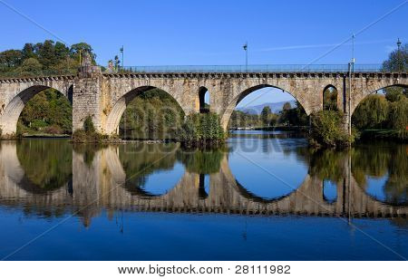 ancient roman bridge of Ponte da Barca in the north of portugal