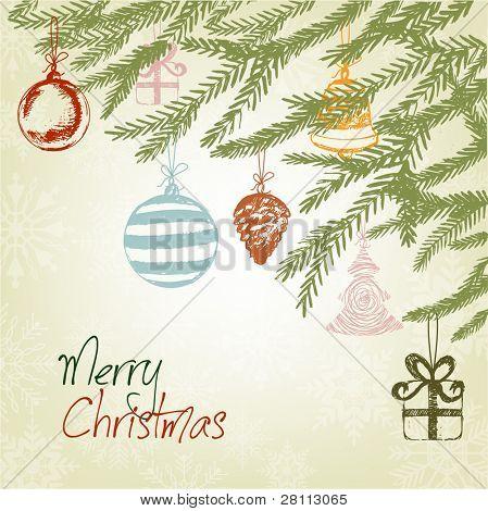 Elegant Handdrawn Retro Christmas Ornaments