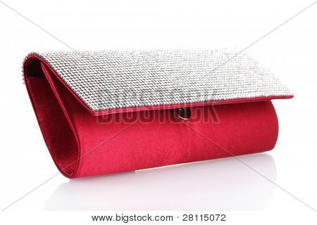 beautiful women clutch bag isolated on white