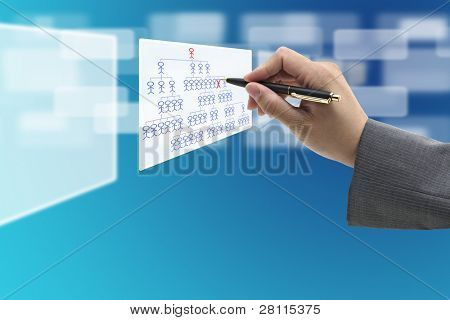 manager hand Fired employee from virtual whiteboard for human resource concept