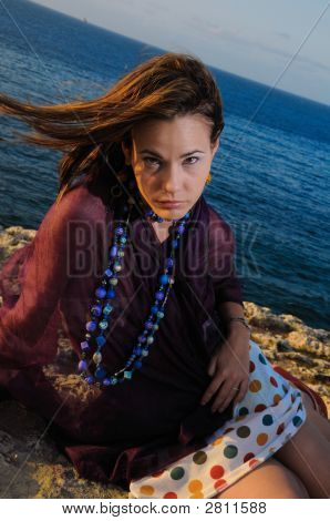 Portrait Of Young Model By The Ocean