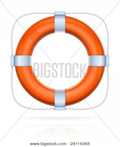 red life buoy with rope vector illustration isolated on white background