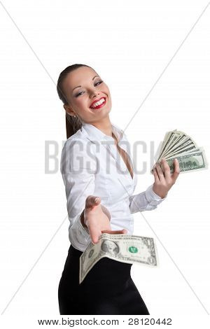 sexy business woman give a dollar