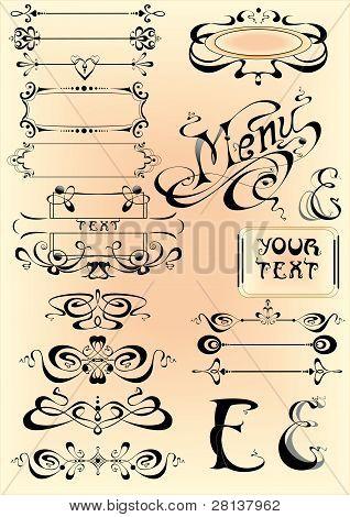 vector set calligraphic