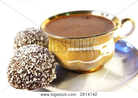 Cup Of Coffee And Sweet With A Coco Isolated