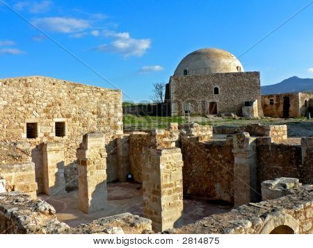 Domed Church And Ruins In Crete